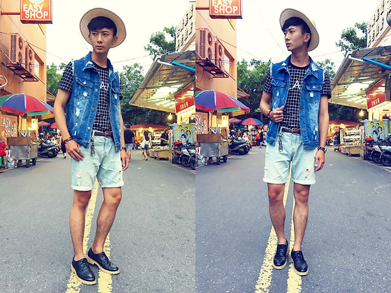 Eragon 莊 - Fifty Percent 50% Denim Vest, Asos Black Brogue Shoes, Uniqlo Braided Leather Belt - Today style 16/ 0719