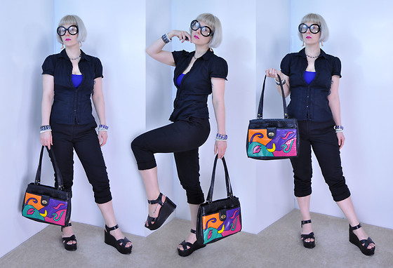 Suzi West - Beauty Depot Iris Apfel Glasses, Suziwestmodel Barbie Feet Earings, So Wear It Declare Button Shirt, Forever 21 Crop Top, Holly Gordon's Pro Wardrobe Bracelets, J. Crew Black Trousers, Latique Inc. Abstract Vintage Purse, Charles David Platform Sandal - 18 July 2016