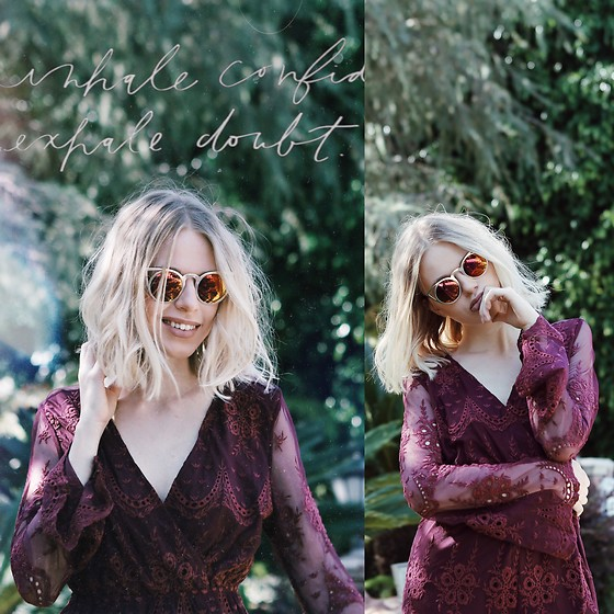 Julia Roga - Tobi Nights Like This Romper - EXHALE DOUBT | LACE WINE RED ROMPER