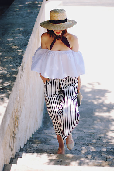 Andreea Birsan - H&M Straw Hat, French Knotted Scarf, Sammydress White Off Shoulder Top, Zara Striped Culottes, Christian Dior So Real Sunglasses, Zara Beige Suede Pumps, Furla Piper S Crossbody Bag - Off shoulder top: summer trend alert II