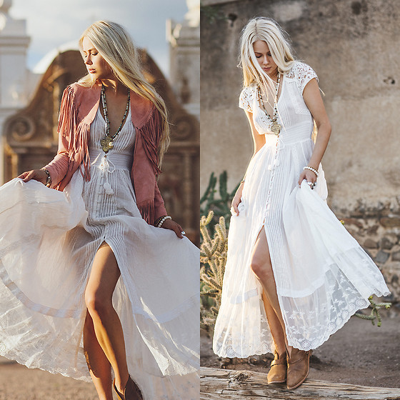 Sarah Loven - Spell Designs White Maxi Dress, Spell Designs Blush Fringe Jacket, Koolabura Taupe Ankle Booties, Avina Yoga Jewelry Beaded Necklaces - Desert Wildflower