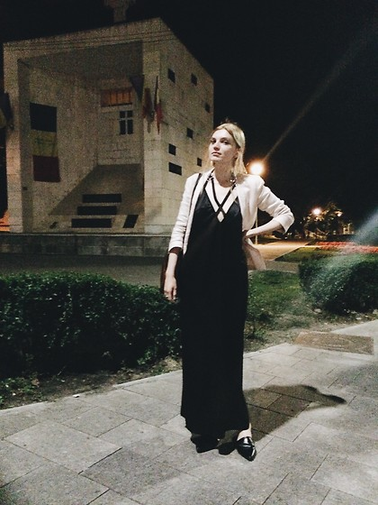 Carla V - Asos Dress, Warehouse Mules, H&M Blazer, Asos Earrings - Nights in black satin