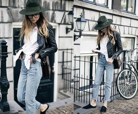 Bea G - Shirt, Jeans, Hat, Shoes, Bag - Tied Shirt & Flat Mules