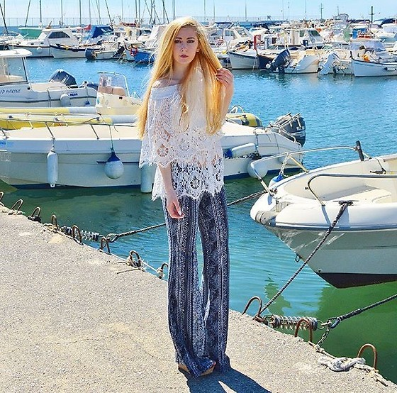 Isobel Thomas - Tkmaxx Flares, Sammy Dress Lace Off The Shoulder Top, New Look Wedges - Diano Marina Harbour