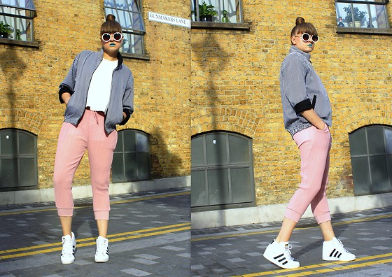 Agata Nika - Dezzal Pink Pleated Pants, Zara Leather Top, Adidas Wedges, Vintage Bomber, Primark Round Sunnies - Pop of colour