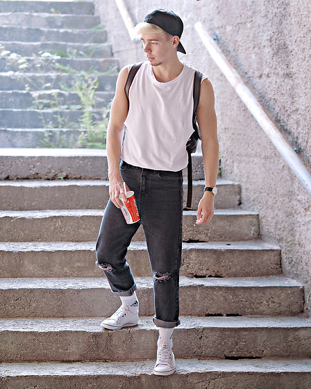 Edgar - Adidas Black Cap, H&M White Sleeveless Top, Black Backpack, Aeon Black Leather Watch, Black Broken Hole Jeans, Adidas White Socks, Adidas White Sneakers - JUST RIGHT FOR SUMMER