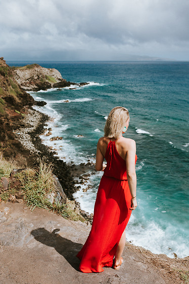 Jessica Luxe - Red Dress, Sandals, Earrings - Cliffs of Maui