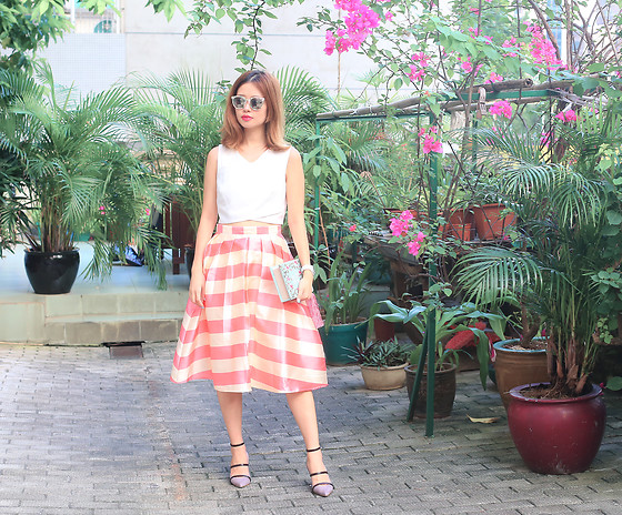 Mayo Wo - Chicwish Striped Skirt, Malone Souliers Strappy Heels - Candy floss