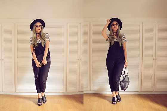 Agnieszka Warcaba - H&M Hat, Aliexpress Choker Diy&, Atmosphere Top, Gamiss.Com Jumpsuit, H&M Bag, Aliexpress Watch, H&M Boots, Zara Sunglasses - Black jumpsuit