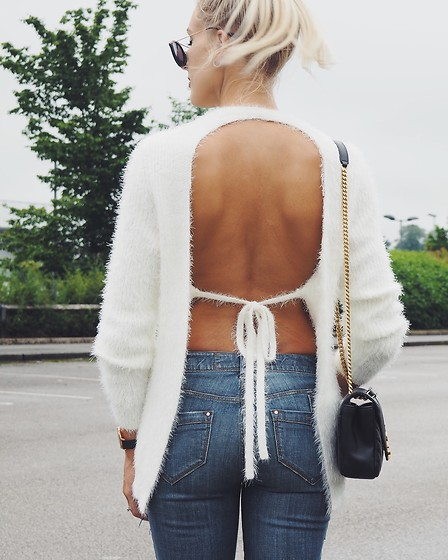 Charlotte Buttrick Lewis - Revolve Majorelle Backless Sweater, Karen Millen Patchwork Jeans - Backless Sweater
