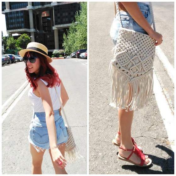 Mi Vida En Rojo - Women'secret Bag, Mariamare Sandals, Levi's® Shorts, Oasap Canotier - Crochet