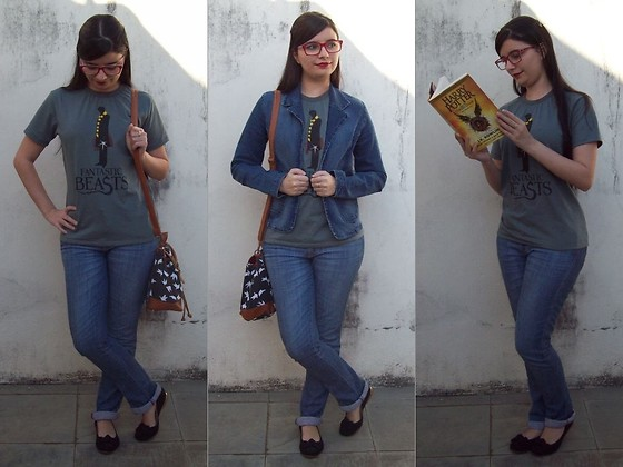 Luly Lage - Cia Do Ponto Fantastic Beasts T Shirt, Maria Filó Jeans, Gui Calçados Black Flats W/ Ribbon, Ray Ban Red Glasses, Afront Jeans Jacket, Flying Birds Bag - I wanna be a wizard...