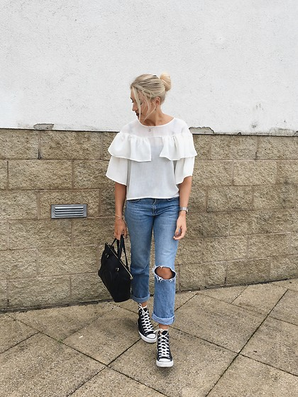 Charlotte Buttrick Lewis - Minkie London Frilled Top, Zara Boyfriend Jeans, Converse All Star, Gucci Bag - All About The Frills