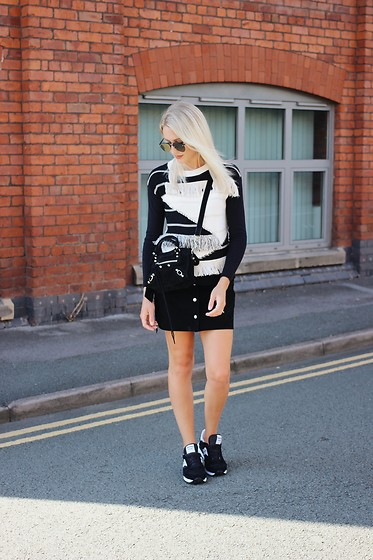 Charlotte Buttrick Lewis - Balenciaga Mini City Bag Suede, Karen Millen Fringed Jumper, Saucony Trainers - Monochrome Fringe, Suede and Sneakers