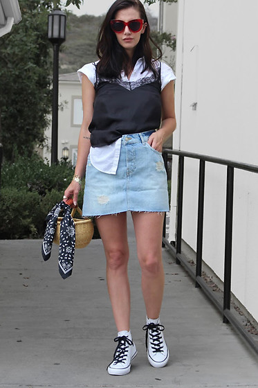 ASH - Asos Denim Skirt, H&M Silk Lace Cami Top, Converse Sneakers - Denim Mini & Silk Cami