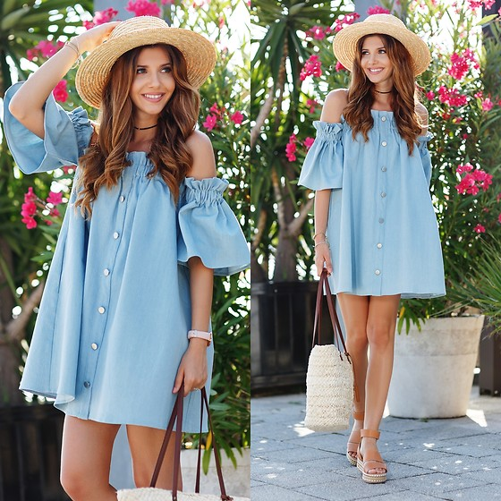 Larisa Costea - Chicwish Denim Dress, Shein Bag, Shein Choker - Tomis port