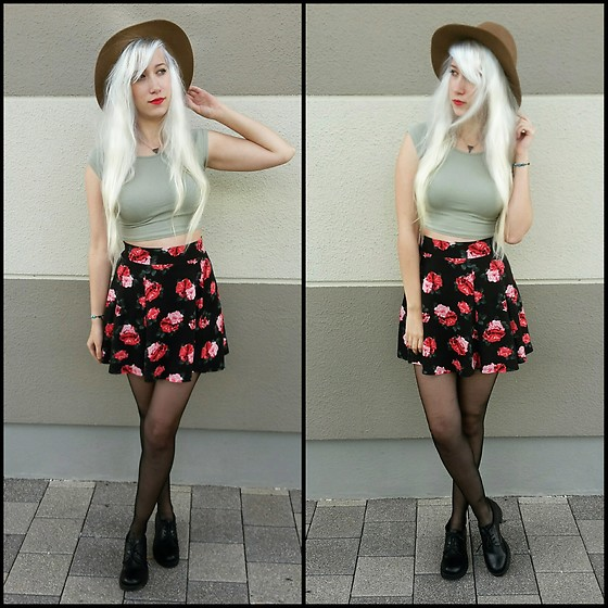 Lea Brande - H&M Skirt, New Yorker Crop Top, H&M Hat - Rose girl