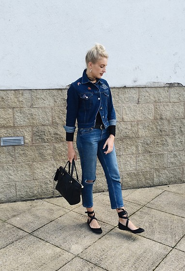 Charlotte Buttrick Lewis - Asos Lydia Ballet Flats, Motel Badge Denim Jacket - 90s double denim & ballet flats