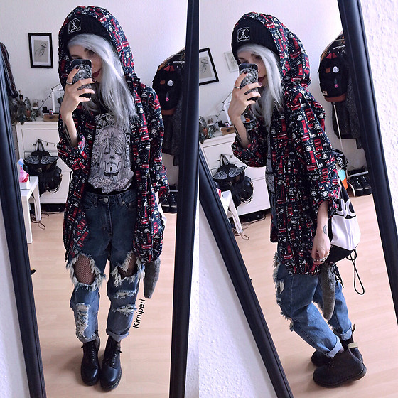 Kimi Peri - Madlady Rippedboyfriend Jeans, Dr. Martens Vegan Boots, Sarah Thursday Daydreamer Tee, Long Clothing Logo Beanie, Long Clothing Cinch Bag, Primark London Print Jacket, H&M Fishnet Tights - Lazy Rain Day