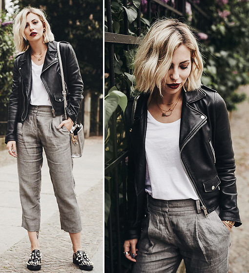 Masha Sedgwick - Rene Lezard Trousers, Shopbop Shirt, Vintage Jacket, Coliac Shoes - Stylish Business