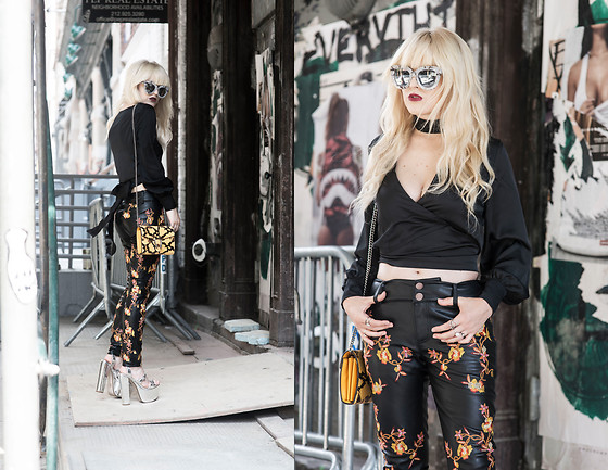 Rachel Lynch - Quay White Mirror Sunnies, Nasty Gal Black Crop Top, Lioness Black Wrap Crop Top, Nasty Gal So Vine Skinny Pants, Gucci Yellow Python Bag -  the change up