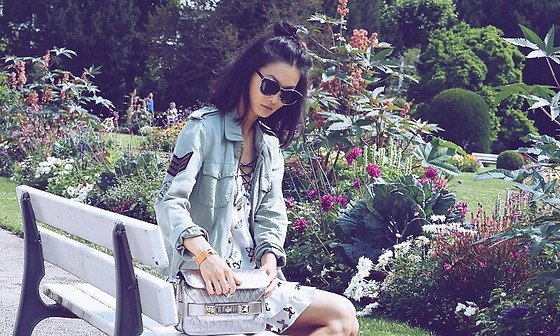 Sun Zibar - Christian Dior Sunglasses, Zadig & Voltaire Military Jacket, The Kooples Butterfly Dress, Proenza Schouler Ps11, Hermès Clic Bracelet - Casual Chic in France