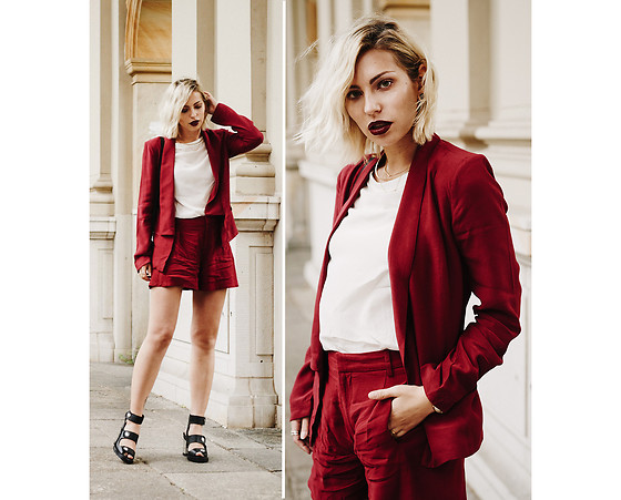 Masha Sedgwick - Gestuz Trousers, Gestus Blazer, Opening Ceremony Shoes, Fendi Bag - The Burgundy Two Piece