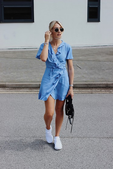 Charlotte Buttrick Lewis - Asos Tea Dress, Nike Flyknit Trainers, Balenciaga Mini City Bag Suede - Asos blue tea dress & trainers