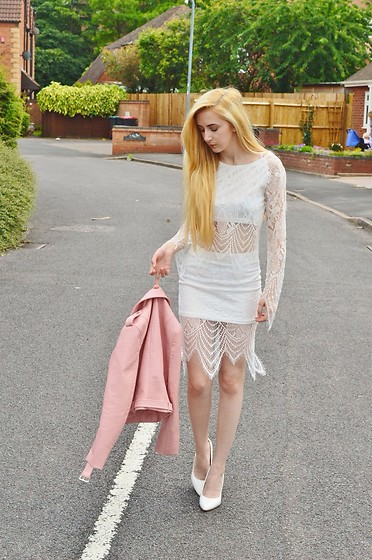 Isobel Thomas - Sammy Dress White Lace Co Ord, Primark White Court Heels, Zara Pink Biker Jacket - Wedding Guest Attire