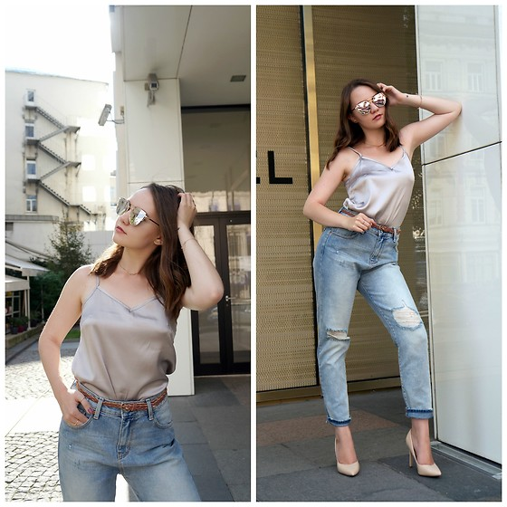 Alina Ermilova - All We Need Silk Top, Calliope Mom Jeans - How To Style Mom Jeans