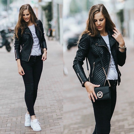 Maria B - Zara Leather Jacket, Zara Jeans, Adidas Originals, Michael Kors Clutch Bag - Amsterdam Streets