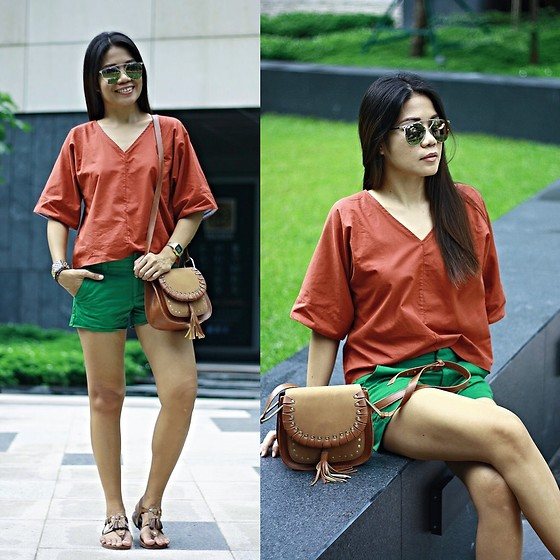 Jenniya Yah - Zaful Red Plunging Neck Blouse, Zaful Crossbody Bag - ZAFUL Bag & Red Blouse