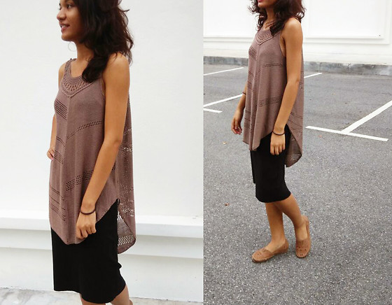 Shanaz AL - Zaful Brown Crochet Top, Pencil Skirt, Cut Out Shoes - All I Do