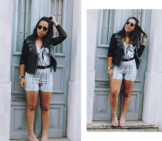 Mafalda M. - Zaful Blue Stripped Playsuit Romper, Le Happy X Romwe Pu Leather Jacket Lehappy, Daniel Wellington Classic Leather Watch, Ray Ban Clubmaster Sunglasses, Mango Nude Lace Up Sandals - CITY CORNERS, A LOVE STORY
