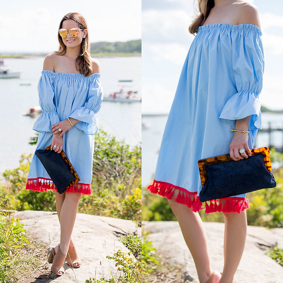 Jenn Lake - Chic Wish Blue Off Shoulder Fringe Dress, Steve Madden Claara Block Heel Sandals, J. Mclaughlin Navy Harris Suede Clutch, Quay Cherry Bomb Sunglasses, Miansai Screw Cuff Bracelet - Blue Off Shoulder Fringe Dress