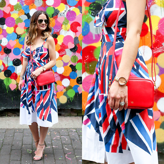 Jenn Lake - Milly Inkblock Print Jordan Tie Dress, Vasic Collection Red Crossbody Bag, Stuart Weitzman Nudistsong Sandals, Movado Rose Gold Edge Watch, Ray Ban Aviator Sunglasses - Multicolor Tie Dress
