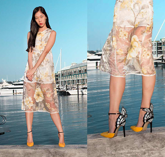 Cissy Zhang - Gamiss Sheer Floral Yellow Dress, Gamiss Butterfly High Heels - Out about in yellow