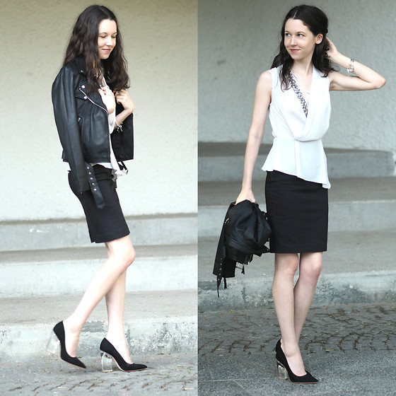 Claire H - Zara Leather Jacket, Mango Dress, H&M Pumps With Clear Heels - Rock it !