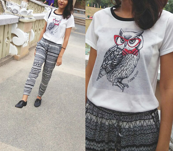 Shanaz AL - Owl Print Tee, Slouchy Patterned Pants, Oxford Style Shoes - Owl Be Me