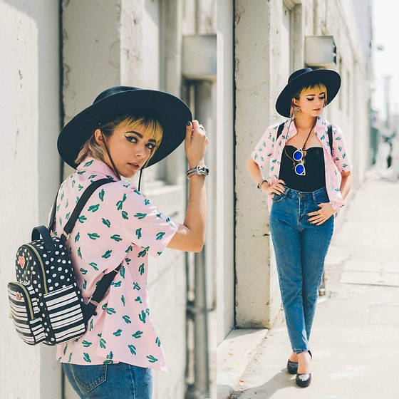 KENDALL SANCHÈZ - High Waist Denim Blue Jeans, Brixton Field Hat, Zero Uv Blue Mirrored Lenses, Betsey Johnson Polka Dot & Striped Backpack, Strapless Bodycon Suit, T.U.K. Footwear Vegan Western Starlet Heels(On Sale!), It's Kendall Kay Style Blog, Visit Me On Instagram - California Cool