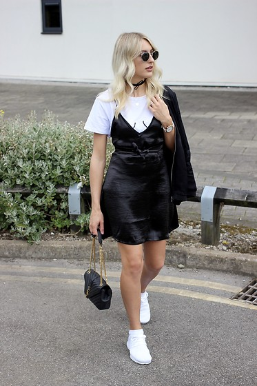 Charlotte Buttrick Lewis - Miss Pap Satin Slip Dress, Saint Laurent Bag, Sammydress Boobs T Shirt, Nike Air Presto Fly Knit - Slip Dresses and Small Boobs