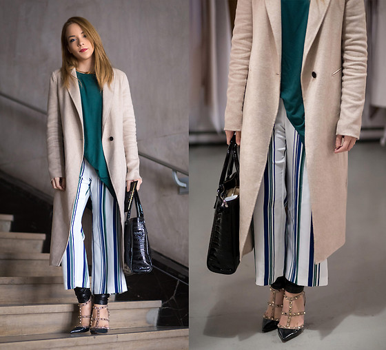Silver Girl - Valentino Rock Stud Heels, Giorgio Armani Black Tote Bag, Helmut Lang Leather Pants, Asos Striped Culottes, Asos T Shirt Dress, Zara Long Coat - Long Coat & Valentino Rockstud