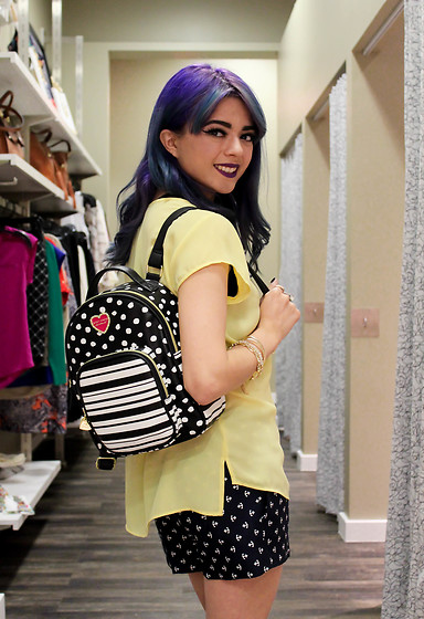 KENDALL SANCHÈZ - The Limited Mellow Yellow Chiffon Top, The Limited Shorts (Similar), Betsey Johnson Mini Backpack, It's Kendall Kay, Visit Me On Instagram - The Limited//Instagram Giveaway