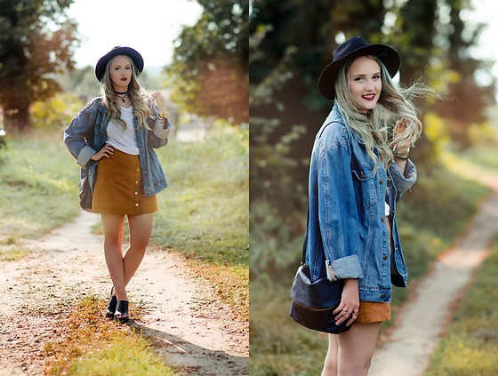 Agnieszka Warcaba - H&M Hat, 1# Diy Choker, Second Hand Jacket, H&M Top, H&M Skirt, H&M Boots, H&M Bag - Mustard skirt