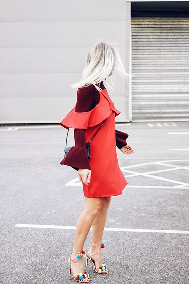 Charlotte Buttrick Lewis - Chicwish Red Frill Dress, H&M Bell Sleeve Knitted Top, Choies Pom Pom Sandals - Transitional Layering to Take Your Summer Dress to Fall