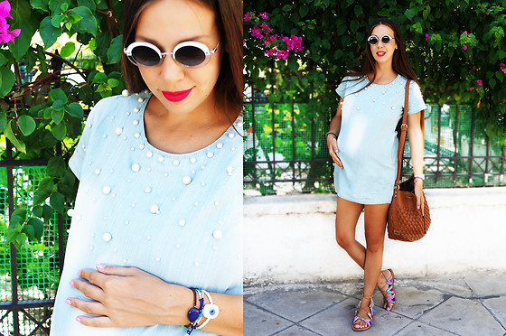 LIA IGAM - Lightinthebox Denim Dress, Elena Athanasiou Pouch Bag - Pearls Effect