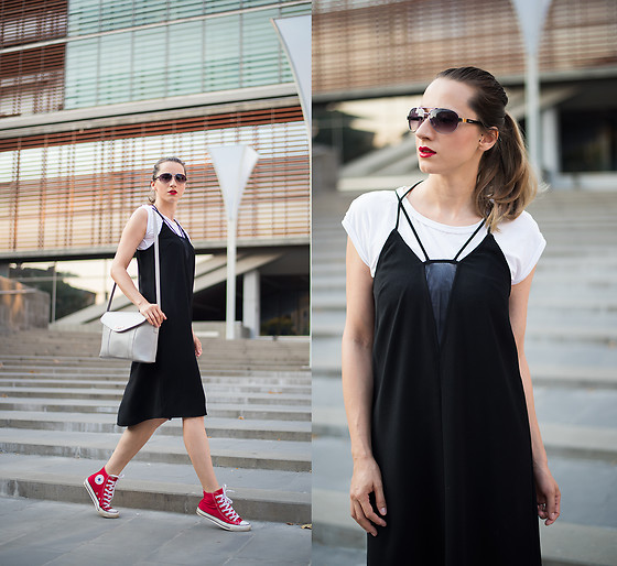 Miha Teicu - H&M Black Dress, Reserved White T Shirt, Converse Red High Top Sneakers, Levi's® Sunglasses - Glory of the '90s