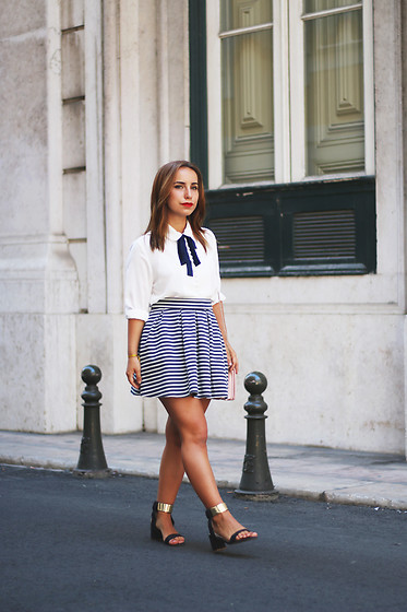 Carolina Santiago - Pull & Bear Navy Skirt, Lace Up Blouse - Crystallizing clear as day