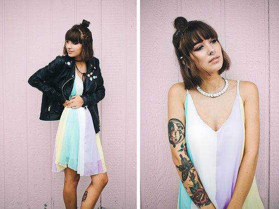 Chelsea Miller - Zaful Multicolor Chiffon Cami Dress, Forever 21 Faux Leather Jacket - Pastel punk