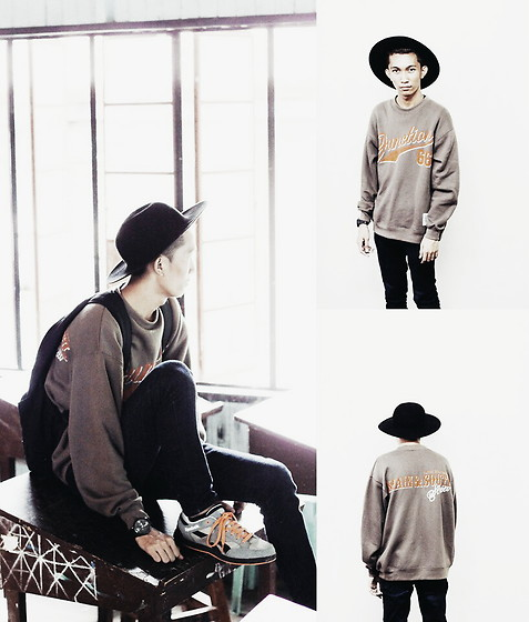 John Castillo - Pullover, Forever 21 Fedora Hat, Guess? Watch, Reebok Sneakers, Nike Backpack, Cheap Monday Skinny Jeans - Gloomy